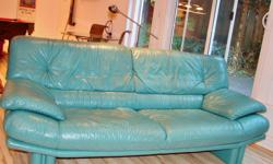 "Natuzzi 80"" x 36"" Teal Colour Made in Italy: Original cost $3800"