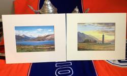 "Scottish Artists Ed Hunter - LOCH LOMOND FROM DUNCRYNE Neil J. Barlow - BONNIE PRINCE CHARLIES MONUMENT GLENFINNAN - From Original Watercolour 8"" x 10"" Outside 5"" x. 7"" Inside"