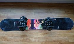 Selling my Never Summer Lotus Womens Snowboard 154 + Burton Lexa Bindings Medium. Both board and bindings are in excellent condition.