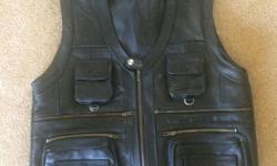 New Genuine Cow Leather black XL Men's Vest with 7 Pockets. Purchased online and found it too small.