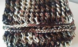 brand new Handmade by me knitted lady scarf, camouflage. Smoke and pet free.