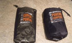 2 water proof polyester fabric ponchos, taped seams, zipper neck and storm flaps, fold away hood. Purchased new at Capital Iron a few years ago, never out of the storage bags. Weight 650 grams, 1 lb, 6 oz. These are just what you need for your westcoast