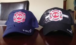 Brand new Fire Department Maltese Cross ball hats (tags still on), one blue and one black. One size fits all. Selling off products left over from our company that we recently closed. Interested in a bulk deal? Contact us for details.