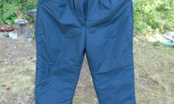 Here is offered a terrific pair of high quality vintage ladies' ski or snowboard pants, never worn. I have had since 1990's. Freshly laundered. Tag says size 10. The waist is 25 or 26 inches depending how you do up the adjustable snaps. The hips are 40
