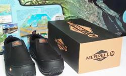 New in box Women's Merrell J45342 Jungle Moc Composite Toe Work Shoes Size 6.5M They Women's Size 6.5M (medium). These shoes sell in stores for $190 including tax. The Merrell® Women's Jungle Moc composite toe work shoes slip on easily for unbeatable