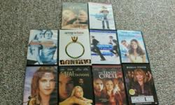 I have a nice collection of 10 dvds for sale that are in excellent condiiton. Titles- Great Expectations Catch Me If You Can Cinderella Story Dangerous Minds Killing Me Softly Army Wives-Season 1 Into The Blue 2 Cake Eaters Suburban Girl The Tenth Circle
