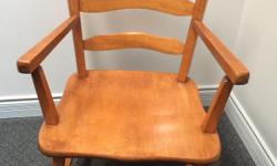 """This chair is Vilas Maple, it is in very nice condition. It is not a standard height, not designed for the dining room. Perfect for a child friendly space. Measures 13.5"""" from floor to seat, total height is 30"""", width is 18"""""""