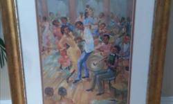 This timeless beautiful wall art work has the limited edition print of a typical traditional Carribbean music fun night. It is in a customed frame in all time classic gold wooden frame with double matting in antique white and brick red colors. Over all