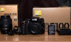 Nikon d5100 16.2 megapixel dslr Nikon 18-55mm kit lens mh-24 charger Fosman 7.4v 1500mah lithium ion battery a/v cable there is a checkmark like scratch on bottom left of monitor under 12000 pics taken