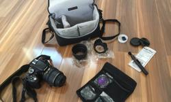 Everything in prestine condition, hardly ever used but very well maintained and clean. No scratches or damage to any part of lens/ body. Comes with: - Nikon D5100 - Lens - 18-55 mm - UV, CPL, and FLD Filters - Cleaning supplies - Extra lens caps - Lens