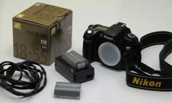 The D80 camera body with a Nikon VR 18mm 55mm telephoto lens, 2 lithium batteries, charger, software and instruction manual. Body is in excellent condition and the lens is brand new and still sealed in packaging. See digital.