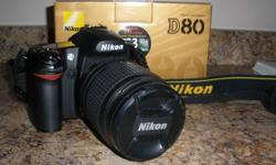 """Selling a Nikon D80 DSLR camera in excellent condition. 10.2 mp camera, predecessor to the D90. 2.5"""" monitor (with plastic screen protector), 11 point Autofocus system, continuous shooting. This camera take excellent professional quality pictures. I still"""