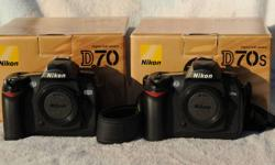 (D70s body SOLD) NIKON digital SLR camera bodies D70 and D70s. (Lenses available.) NIKON trades considered. D70 $225, D70s $250. Each camera is in mint condition with original box, two batteries, charger, rear LCD cover, viewfinder eyepiece, body cap,
