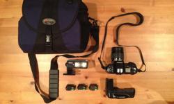 Price includes the following: * Nikon F90X 35mm SLR Camera body * Nikon AF 28-80mm D lens f /3.5~5.6. (58mm diameter) * MB10 batt grip/motor drive * Nikon Speedlight SB-27 flash unit * 3 rolls of unused film (Fuji Superia 200, 400 & 800) unknown age or