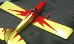 I bought this RC plane for my son and i but it is way to fast for us. .49 NT EVOLUTION Nitro 2stroke. 5' Wingspan 4channel radio Ailerons Elevator Rudder Throttle Lots of spare parts!! 2 glow plug ignitors Electric starter 2+Manual fuel pumps 12volt