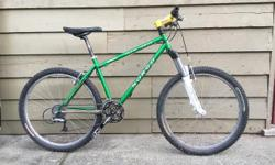 """Awesome XC mtn. bike, 17"""" suitable for someone 5'4"""" to 5'8"""". very light, triple front ring, 8 spd rear. Reynolds frame, newer Rock Shox fork. Used by my wife but hasn't been ridden for a while years now. Shifting, braking is all good. Dan, 250-701-2680"""