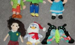 """$3 EACH or 2 for $5 Some are new, all very clean Wendy in a skirt (bob the builder) Wendy in pants Molly - big comfy couch - SOLD doll with brown hair - SOLD Care Bears cousins - penguin TY butterfly (float) Lizzard (Eden) - legs crinkle, approx. 12"""""""