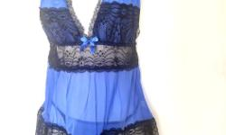 Mesh and lace babydoll set Color royal blue/black Size M new with tag