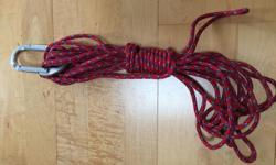 "35 foot rope, 5 mm thick - great condition, no stress or damage. We have used it for camping ~ to strap the tarp, to hang up food in cache, etc. Carabiner measures 4 1/4"" X 2 1/2""."