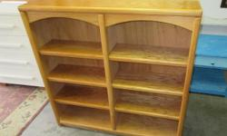 """Good condition, oak book case with 6 adjustable shelves. Minor surface wear. Measures 47 1/2"""" X 10"""" X 47 1/2"""" tall. Call or text, and if you email please leave name and phone number."""