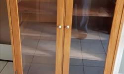 nice glass door oak unit 36 inch wide 48 inches high by 12 inch deep
