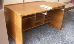"""Oak and Oak plywood desk. 4ft. long by 30"""" deep by 29"""" tall. Solid and custom made. Two sliding computer trays. multiple shelves."""