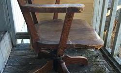 solid oak office chair swivels, adjustable
