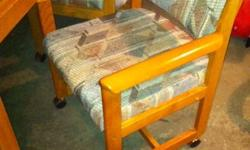 Oak table with four matching chairs on wheels.Very good condition.Asking only $100.00 for complete set.Call Bernie @780-814-2151.