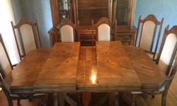 Oak table with 2 leafs, hutch with cabinet below, 6 high back chairs