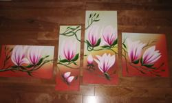 oil painting, 4 pieces ?total $60), total length 1m, height 75 cm New. could hang together or separately.