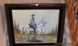 """Oil Painting"" With Ornate Frame. Painted by R Eichert. 30"" wide x 26"" long. One of a kind. Price:    $30.00 Price:    403-887-2811"