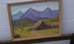 smaller sized painting not bad shape at all the frame is solid some minor blemishes but like said not bad at all , it is signed M.C. can be viewed in brantford or delivered for free
