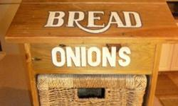 """All solid pine. Heavy duty wicker basket for onions and storage box for bread. It doesnt fit in the only place I wanted it to go. Never used. Dimensions- 19""""tall x 13""""wide x 11""""deep. Worth over twice my asking price."""