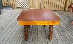 """This old table is about 80 years old and has character and karma. 49 1/2"""" X 42"""" wide. Legs are carved and solid wood--not sure what kind of wood. Top of original table has been replaced with 5/8"""" plywood, but could easily be replaced if you choose."""