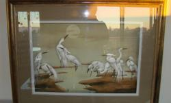Beautiful framed watercolor and paper hand original art of Herons. Gold frame, great shape H27?XW35? For the unique art collector. You must see it.