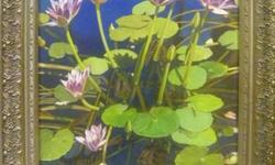 """""""Splendor in The Pond"""" is an original painting done in acrylic by Mark Pytlos. Beautifully framed to draw the viewer to the beauty of water lilies. The painting size is 18"""" x 24"""". Frame outside measurement is 24"""" x 30"""". For more info, please contact Mark"""