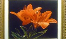 """Original Oil Painting on Canvas by Mark Pytlos painted in the style of Rembrandt. Title: """"Orange Lily"""" (Lilium bulbiferum) Framed with Jewel-Larson solid wood frame. The canvas size is 16"""" x 20"""". Outside frame measurement is 22"""" x 26"""". For more info"""
