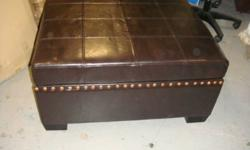 "Brand new large 32"" x 34"" leather ottoman with storage tray only 99 compare at 240+ limited quantities   Barton Furniture at 581 Barton St E Hamilton Mon-Fri 10-6 Sat 10-5 905-526-9566 See poster's ""other ads"""
