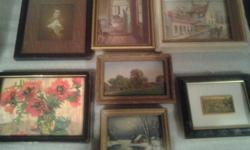 """Small 2"""" x 2"""" framed paintings in metal or wood frames, all individually priced. Can be mailed,"""