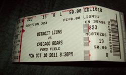 Detroit Lions vs Chicago Bears tickets for Monday October 10th Section 323, Row 19, Seats 7 & 8 $300 for the pair.