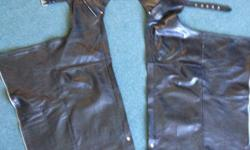 "I have a pair of lined chaps for sale. About 30"" to 31"" leg length. and a 24"" thigh. They have a stretch gusset. $60."