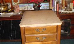 "Pair of end table, French Provincial style with one drawer, marble top and walnut frame all in very good condition. Size: 19"" by 23"" by 23"" high. the picture of one but there are 2."