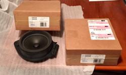 A pair of stock replacement front door speakers for 2008-2011 Chevy Silverado and GMC Sierra trucks, possibly fit Yukon and Tahoe. Brand new, never used, in box from GM.