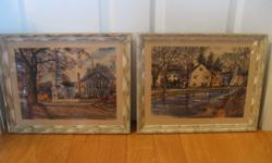 """Two Attractive Photographic  Prints.......in Matching Solid Wood Frames...done by Artist John Rogers.....[signed]...Vintage...from the 1959 Era....Scenes from within """"The Village""""...Picturesque shots...Spotlessly clean...& are from a smoke free"""