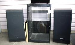 200W , made in Canada, stand has shelves, all in very good condition