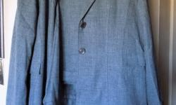 Polyester dress pants, and long jacket. Grey with nice stitching detail. Size 18. Perfect condition.