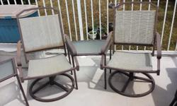 Very comfortable and sturdy set. Great for smaller areas to set up a relaxing seating space. Two glass topped corner tables.
