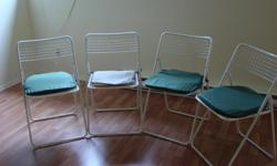 Four metal folding patio chairs with cushions in good condition. All four for $25. Reasonable offer will be considered.