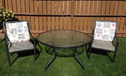 Selling Used Patio Set-Table & 6 Chairs. Set is in extremely Excellent Shape. Has been indoors always. Metal Table & Tempered Glass Top; Chairs all metal frame & seat cushions for seat & back (just need to be cleaned). Must Sell, no room to store for the
