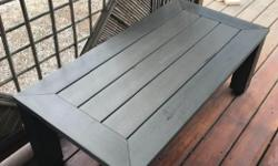 """Very heavy solid outdoor table good condition grayish greenish color.....4' by 2' by 17"""" high"""